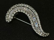 18K White Gold Crescent Brooch Pin made w/ Swarovski Crystal Baguette Stone