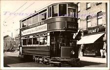 1938 London UK Wood Green Double Decker Street Trolley Car Real Photo Postcard