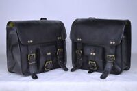 Black Leather  left side and right side Motorcycle Side Saddlebags 1 Pair