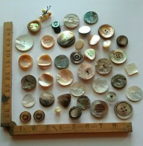 Vintage Mother of Pearl Buttons Good Selection for Crafts Jewellery or Inlay  #5