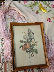 Vintage JL Prevost Wood Framed Floral Flower Bouquet Print Roses Irises