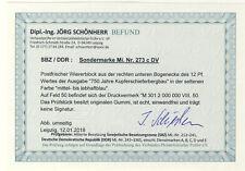 DDR Michel No. 273 c ** postfrisch DV Druckvermerk - geprüft Schönherr VP Befund