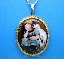 Sweet Porcelain GIRL & PITBULL DOG CAMEO Locket Pendant Necklace Christmas Gift