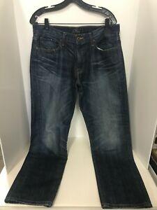 Lucky Brand 221 Original Straight Denim Jeans Mens Size 34 X 30 Blue Denim