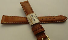 ZRC Made in France Tan Ostrich Calf 14mm Watch Band Pointed Gold Buckle $17.95