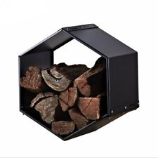 SCANDIA BEEHIVE 500 Wood Log Fireplace Storage Module Contemporary Black Steel