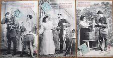 Hunting/Hunter & Woman 1905 Set of THREE French Fantasy Postcards, Rabbit, Gun