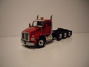 FIRST GEAR 1/50 RED TRI-AXLE KENWORTH T880 DAY CAB SAME SCALE AS DIECAST MASTER