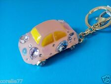 PINK PUNCH BUGGY BEETLE PERSONALITY KEYCHAIN Alloy Crystal BLNG