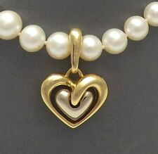 Chimento 18K Gold 750 Italy Puffy Double Heart Pearl Enhancer Charm Pendant 10gr