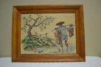 Vintage Paint By Numbers Painting Mid Century MCM Fisherman - Framed