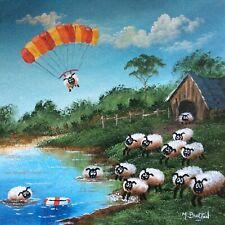 MAL.BURTON ORIGINAL OIL PAINTING. CRAZY SHEEP NORTHERN ART DIRECT FROM ARTIST