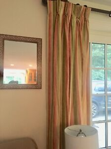 Pair Pinch Pleat Long Custom Lined Drapes Curtains Panel striped Pink Green Gold