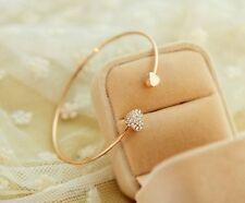 Fashion Full Crystal Heart Women Lady Open Bangle Gold Bracelets Elegant Jewelry