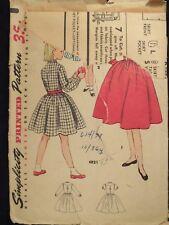 Lovely VTG 60s SIMPLICITY 4821 Girls Shirt-Dress PATTERN Size 8/26B