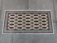 Vintage Hand Made Traditional Oriental Wool White Beige Small Rug 48x102cm