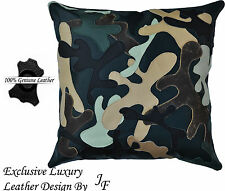 EXCLUSIVE LUXURY GENUINE LEATHER CUSHION CAMOUFLAGE ARMY DESIGN GREEN