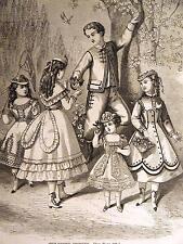 CHILDREN'S FASHION DRESS BOYS & GIRLS 1868 Print Matted