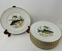 Luneville Tradition France Antique Fish Plates Hand Painted Dinner Lot of 2 A64