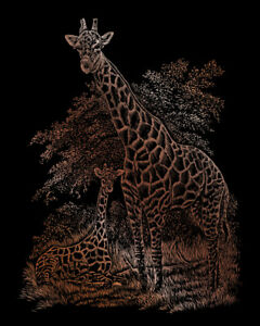 Engraving SCRAPERFOIL Scratch Art Kit COPPER FOIL Engrave GIRAFFE AND BABY