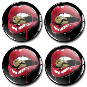 55mm 3D Silicone Stickers Decal Wheel Center Hub Rims Caps Red Sexy Lips Bullet