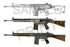 "HK G3 illustration 3 rifle 12"" x 18"" print"