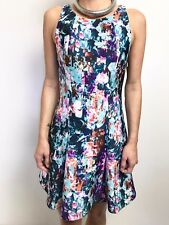 KOOKAI MULTICOLOURED DIGITAL PRINT SLEEVELESS FITTED WAIST STRETCH DRESS SZ 40