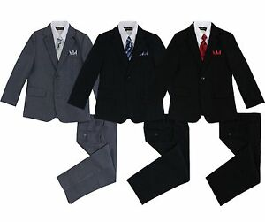 Kids Boys Pinstripe Suit 5 Pieces Set with Vest and Tie Size 2T-14 Two Button