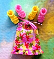 Kelly Small Doll Clothes *Pink Yellow Flowered Halter Dress & 2prs Shoes*