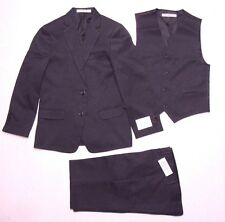 Perry Ellis Big Boy Nested Suit, Jacket, Vest & Pant Set Dark Charcoal Sz 12