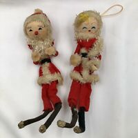 Vintage Christmas Santa And Mrs Claus Bendable Dolls Wearing Felt