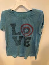 Marvel Blue Captain America Shield Love Shirt Avengers Size Youth large