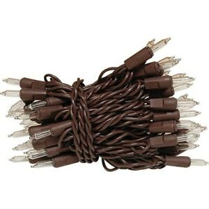50 Ct Count Clear Christmas Lights Brown Wire Cord Light Set Primitive Craft