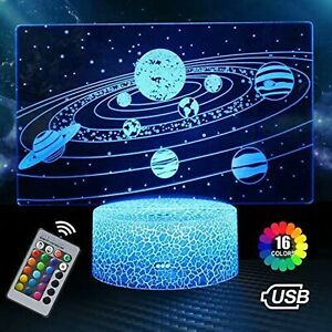 Solar System 3D Optical Illusion Lamp Universe Space Galaxy Night Light for Kids