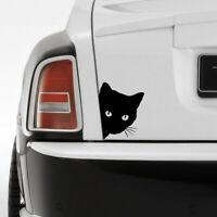 Funny Cat Face Peering Car Sticker Decal Window Truck Auto Bumper Body Black Top
