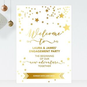 Personalised Engagement Party Welcome Sign In Gold Effect Stars (ST22)