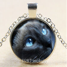 Photo Cabochon Glass Silver Chain Pendant Necklace(big Black cat)