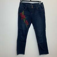 Soho New York & Company Women's Floral Denim Blue Jeans Size 6 Skinny