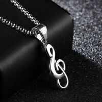 Cute Musical Note Silver Yellow Gold GP Stainless Steel Pendant Necklace Gift