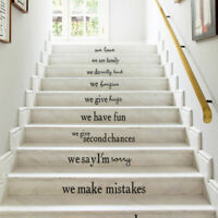 New Home Stair Decals Vinyl Wall Sticker Quote WE ARE FAMLIY Art Decor Removable
