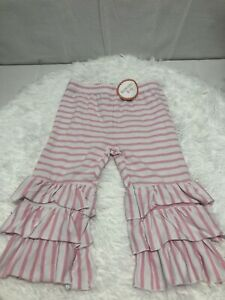 New With Tags  girls size 10Southern Tots White And Pink Triple Layer Capri