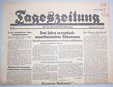 Original Zeitung 13.6.1945 Tageszeitung für die deutsche Bevölkerung Abkommen !