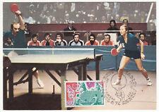 CARTE MAXIMUM FDC 1977 TIMBRE N° 1961 BIRMINGHAM TENNIS DE TABLE MEDAILLE D OR