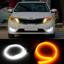 2 X 60cm Flexible Audi Style Neon Tube SWITCH BACK DRL CARS/ BIKES- WHITE/ AMBER