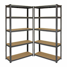 2 x Garage Shelving Boltless Racking 5 Shelf Steel Storage Units Metal Shelves