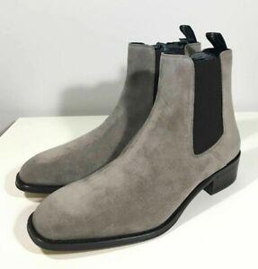 Brand-new Men's Alexander McQueen Gray Suede Chelsea Boots in US 10/UK 9/Euro 43
