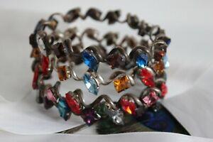 4 Bracelets Cuff Rhinestone Beads Glass Jewel Vintage Couture Creator Bangles
