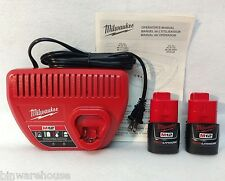 Milwaukee 2 Batteries 48-11-2401 & Charger 48-59-2401 M12 12v Red Lithium Ion