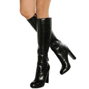 Ladies Zipper Sexy Clubwear Knee High Round Toes Boots PU Leather Block Heels Sz