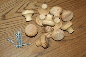 12 Knobs Knob Set Pulls Dresser Hardware Unfinished Pine WOOD Wooden Screws NEW